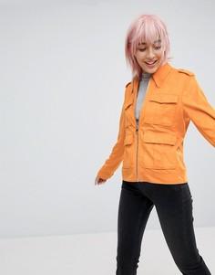 Куртка в стиле вестерн из искусственной кожи с карманами ASOS - Оранжевый