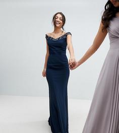 Платье макси с открытыми плечами, отделкой пайетками и бантом сзади Maya Tall - Темно-синий