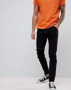 Черные джинсы слим с молнией на коленке G-Star 5620 3D - Черный