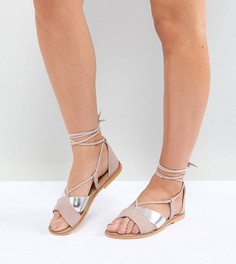 Замшевые сандалии для широкой стопы ASOS FOLLOW YOU - Мульти
