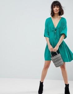 Повседневное чайное платье мини с бантом ASOS - Зеленый
