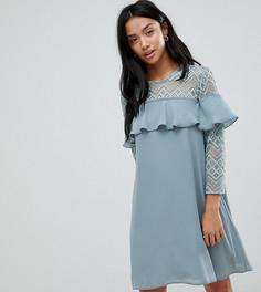Платье А-силуэта с оборками Elise Ryan Petite - Зеленый