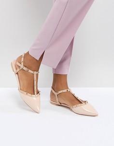 Туфли на плоской подошве с заклепками Dune London Cayote - Розовый