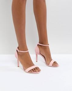 Розовые кожаные босоножки на каблуке Dune London - Розовый