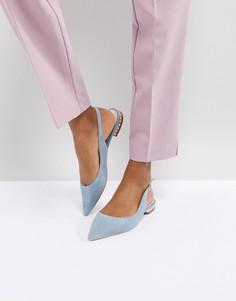 Синие замшевые туфли со стразами Dune London - Синий