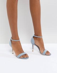 Синие кожаные босоножки на каблуке с жемчужной отделкой Dune London - Синий