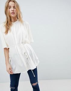 Oversize-рубашка без воротника с поясом Bellfield Janne - Белый