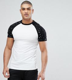 Обтягивающая футболка с принтом брызг на рукавах реглан ASOS TALL - Белый