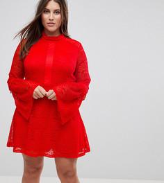 Кружевное короткое приталенное платье с длинными рукавами Rage Plus - Красный