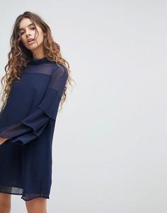 Платье с многослойными рукавами QED London - Темно-синий