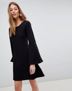 Свободное платье с кнопками на рукавах QED London - Черный