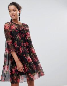 Сетчатое платье с цветочным принтом QED London - Черный