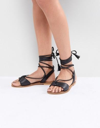 Кожаные сандалии на завязках ASOS FLORRIE - Черный