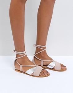 Замшевые сандалии с завязками ASOS FOLLOW YOU - Мульти