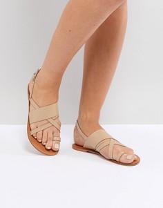 Кожаные сандалии ASOS FINLEY - Бежевый
