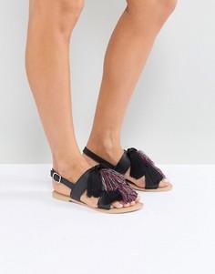 Кожаные сандалии с кисточками ASOS FAVOUR - Черный