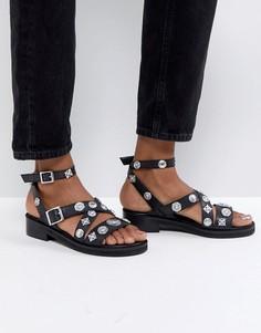 Кожаные сандалии ASOS FINISH - Черный