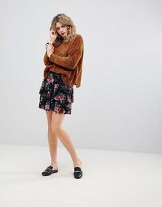 Ярусная юбка с цветочным принтом Ichi - Черный
