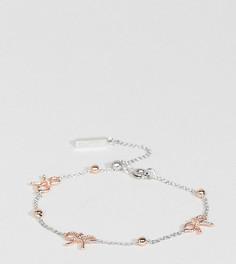 Серебристый браслет с золотисто-розовыми бантами и шарами Olivia Burton - Мульти