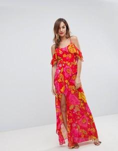 Платье макси на бретельках с оборкой и цветочным принтом ASOS - Мульти