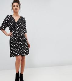 Чайное платье мини в стиле casual в горошек ASOS TALL - Мульти
