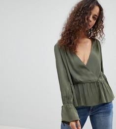 Блузка oversize с запахом и асимметричным краем ASOS PETITE - Зеленый