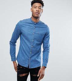 Облегающая эластичная джинсовая рубашка с воротником на пуговице ASOS TALL - Синий