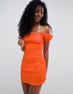 Пляжное облегающее платье из присборенной сетки ASOS - Оранжевый