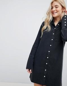 49a32b4bce2 Черное выбеленное джинсовое платье-рубашка с широкими манжетами ASOS -  Черный