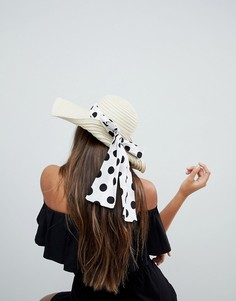 Соломенная широкополая шляпа регулируемого размера с бантом в горошек ASOS - Бежевый