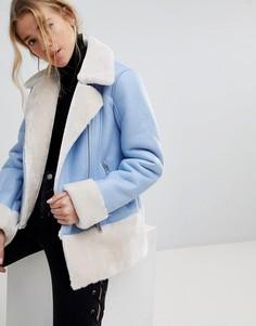 Куртка-авиатор с отделкой из искусственной овечьей шерсти Miss Selfridge - Синий