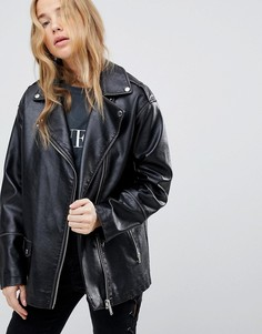 Байкерская oversize-куртка из искусственной кожи Miss Selfridge - Черный