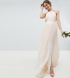 Плиссированное платье макси TFNC Tall WEDDING - Розовый