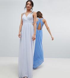 Декорированное платье макси с запахом TFNC Tall WEDDING - Серый