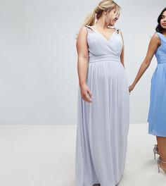 Платье макси с запахом и декоративной отделкой TFNC Plus WEDDING - Серый