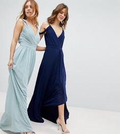 Платье макси с запахом TFNC Petite WEDDING - Зеленый