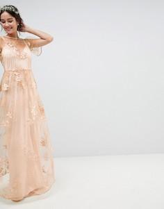 Платье макси с цветочной вышивкой ASOS Wedding - Мульти