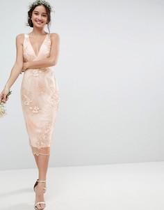Кружевное платье-футляр с цветочной вышивкой ASOS Wedding - Мульти