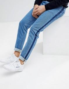 Синие джинсы скинни с полосами по бокам ASOS - Синий