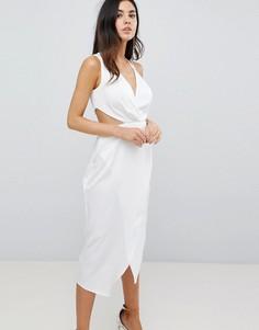 Платье миди с соблазнительным вырезом сбоку ASOS - Белый