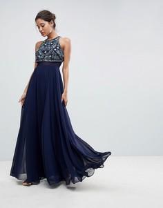 Платье макси с укороченным лифом и цветочной вышивкой ASOS - Темно-синий