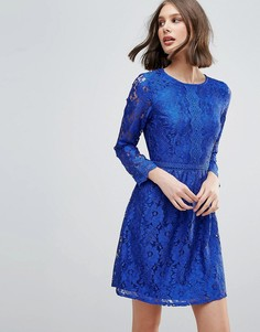 Короткое приталенное платье с кружевом Uttam Boutique - Синий