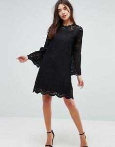 Кружевное платье с рукавами клеш Uttam Boutique - Черный