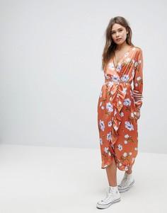 Платье миди с цветочным принтом Influence - Красный