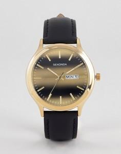 Часы с кожаным ремешком Sekonda эксклюзивно для ASOS - Черный