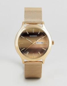Часы с сетчатым золотистым ремешком Sekonda эксклюзивно для ASOS - Золотой