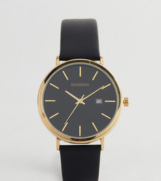 Часы с черным кожаным ремешком и золотистым циферблатом 42 мм Sekonda эксклюзивно для ASOS - Черный