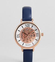 Часы с темно-синим кожаным ремешком и видимым механизмом Sekonda эксклюзивно для ASOS - Черный