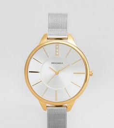 Серебристо-золотистые часы с сетчатым браслетом Sekonda эксклюзивно для ASOS - Серебряный