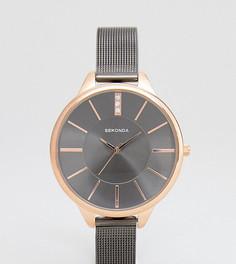 Часы цвета пушечной бронзы с сетчатым браслетом Sekonda эксклюзивно для ASOS - Серебряный